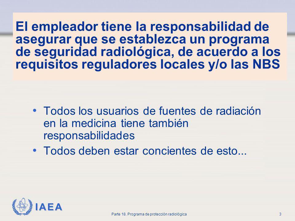 IAEA Parte 18. Programa de protección radiológica3 El empleador tiene la responsabilidad de asegurar que se establezca un programa de seguridad radiol