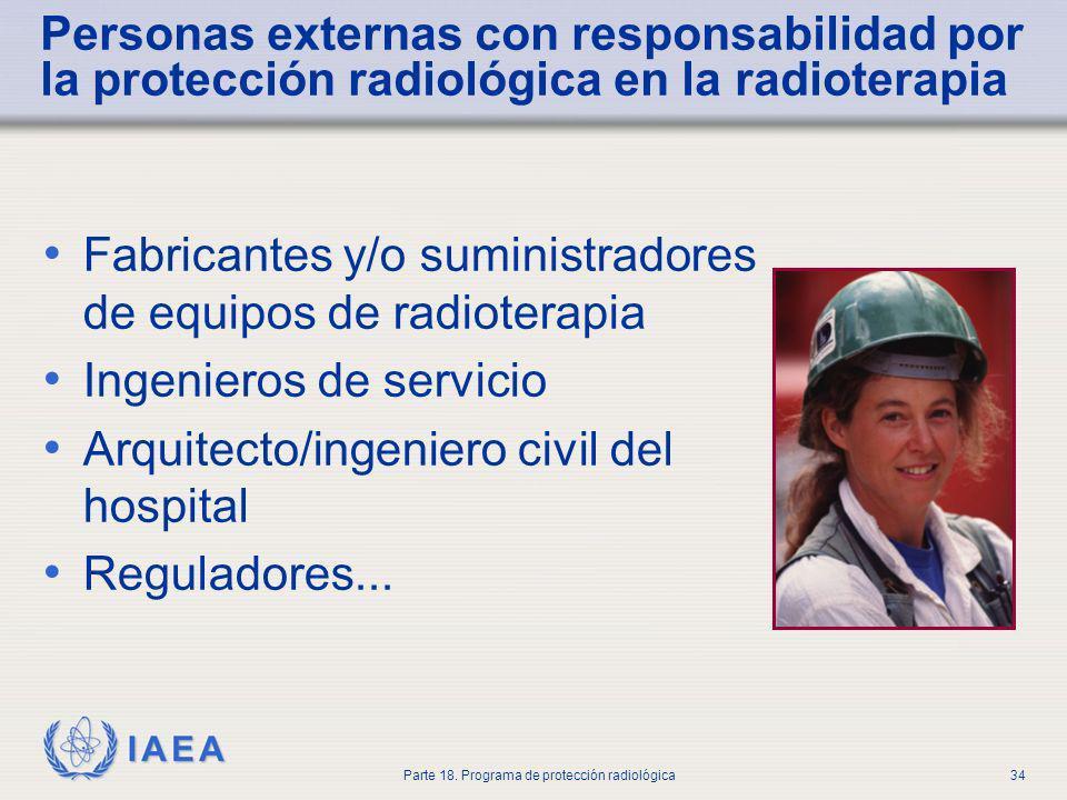 IAEA Parte 18. Programa de protección radiológica34 Personas externas con responsabilidad por la protección radiológica en la radioterapia Fabricantes