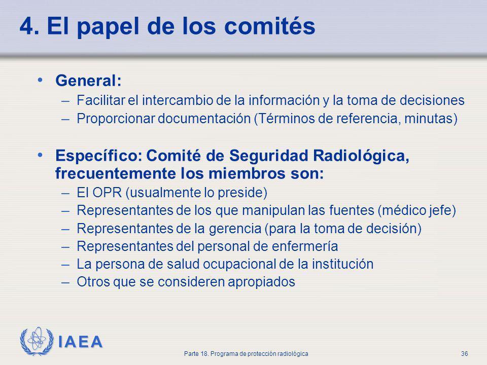 IAEA Parte 18. Programa de protección radiológica36 4. El papel de los comités General: – Facilitar el intercambio de la información y la toma de deci