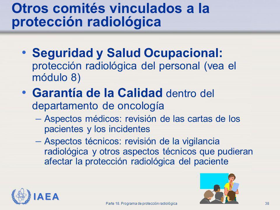 IAEA Parte 18. Programa de protección radiológica38 Otros comités vinculados a la protección radiológica Seguridad y Salud Ocupacional: protección rad
