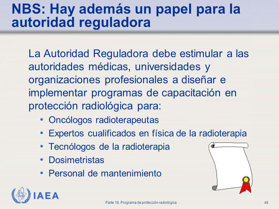 IAEA Parte 18. Programa de protección radiológica48 NBS: Hay además un papel para la autoridad reguladora La Autoridad Reguladora debe estimular a las