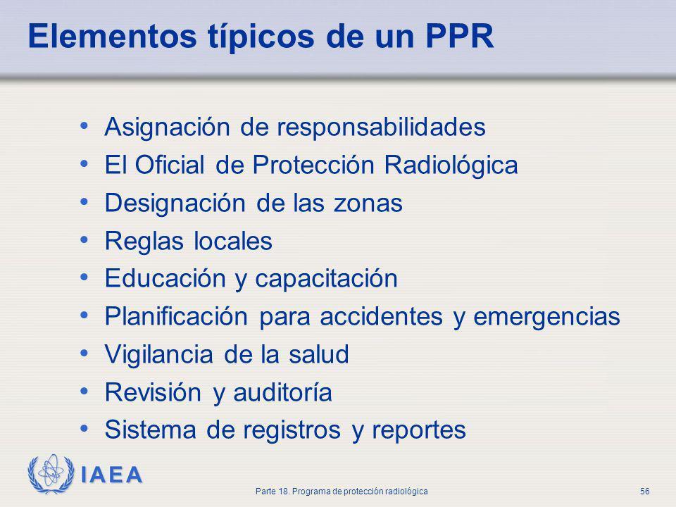 IAEA Parte 18. Programa de protección radiológica56 Elementos típicos de un PPR Asignación de responsabilidades El Oficial de Protección Radiológica D
