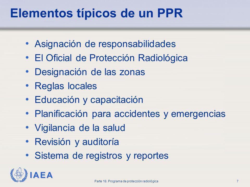 IAEA Parte 18. Programa de protección radiológica7 Elementos típicos de un PPR Asignación de responsabilidades El Oficial de Protección Radiológica De
