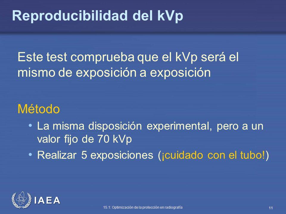 IAEA 15.1: Optimización de la protección en radiografía 11 Reproducibilidad del kVp Este test comprueba que el kVp será el mismo de exposición a expos
