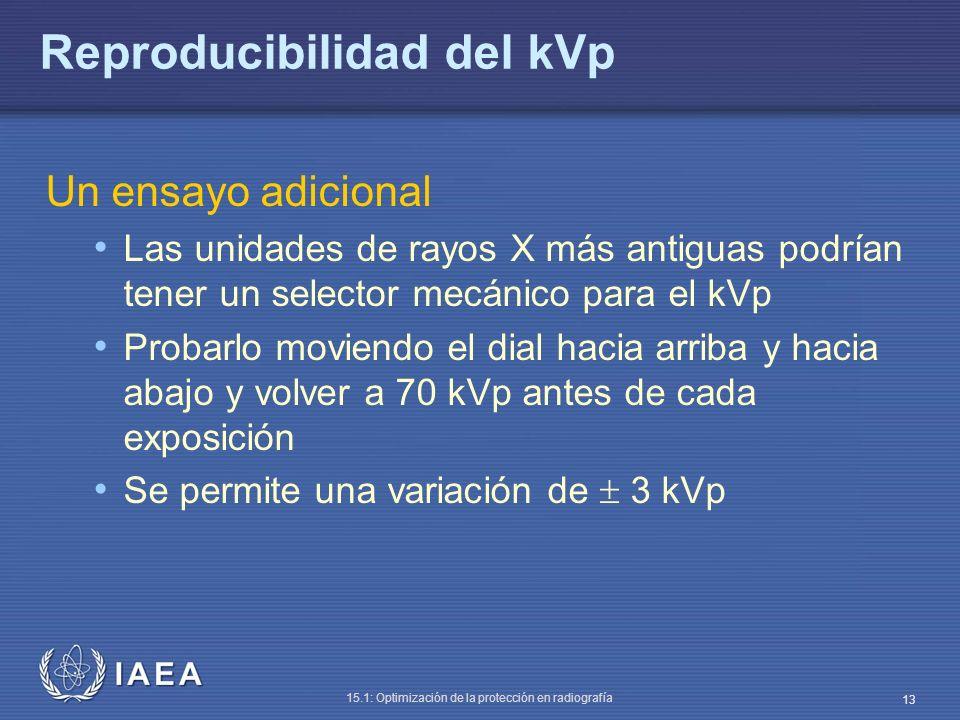 IAEA 15.1: Optimización de la protección en radiografía 13 Reproducibilidad del kVp Un ensayo adicional Las unidades de rayos X más antiguas podrían t