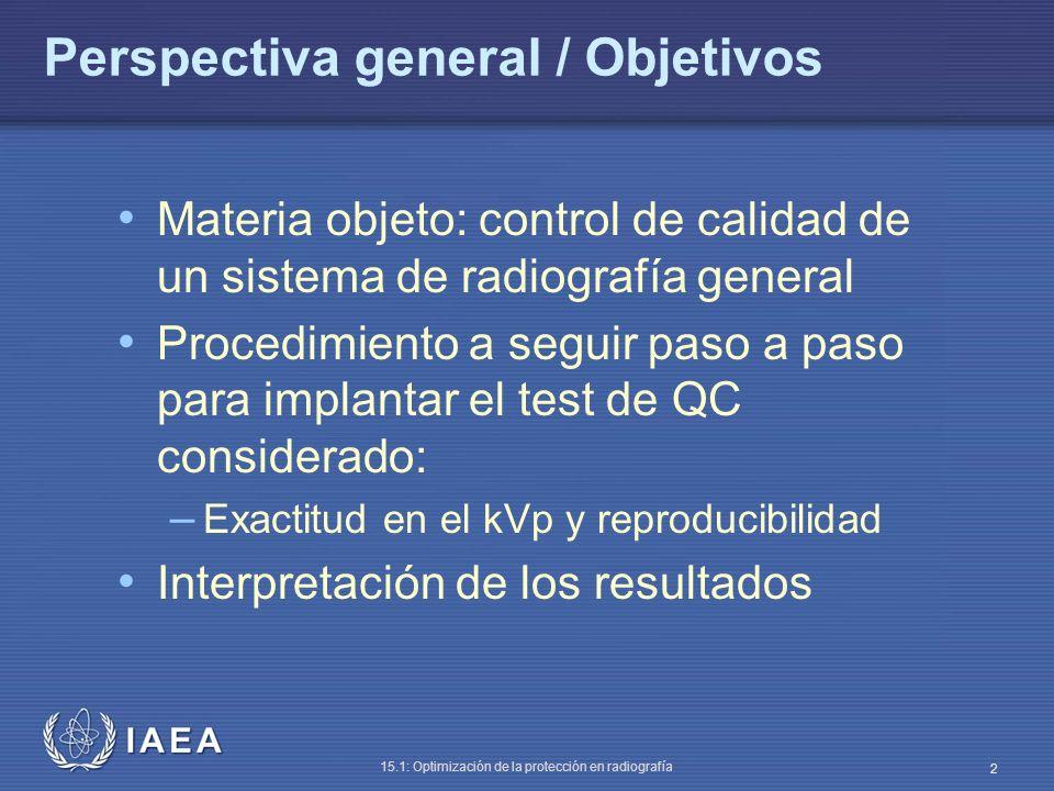 IAEA 15.1: Optimización de la protección en radiografía 2 Perspectiva general / Objetivos Materia objeto: control de calidad de un sistema de radiogra