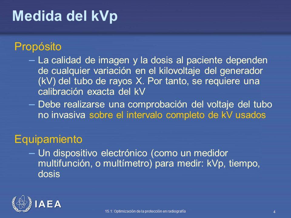IAEA 15.1: Optimización de la protección en radiografía 4 Medida del kVp Propósito – La calidad de imagen y la dosis al paciente dependen de cualquier