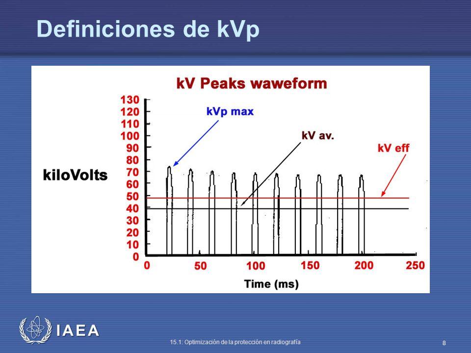 IAEA 15.1: Optimización de la protección en radiografía 9 Exactitud del kVp Método Situar el multímetro a unos 100 cm del foco o como se prescriba por el fabricante Seleccionar ~ 20 mAs Medir el kVp desde alrededor de 60 - 120 kVp (ej., 60, 70, 80 100, 120) Calcular el error entre los valores seleccionado y medido