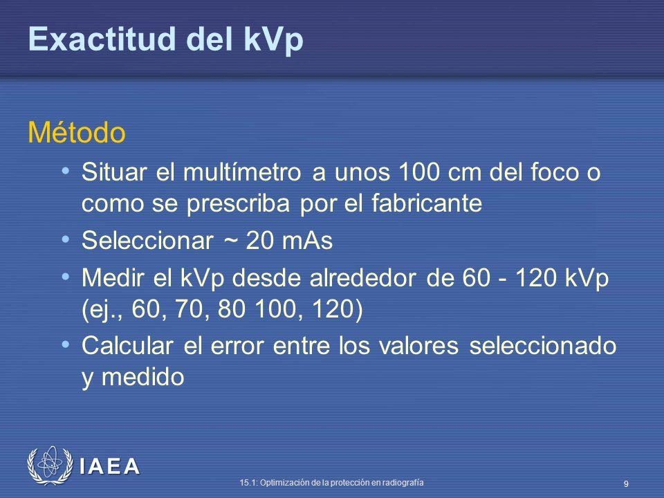 IAEA 15.1: Optimización de la protección en radiografía 10 Exactitud del kVp Análisis La diferencia entre el valor seleccionado y el medido debe estar dentro del 5% Frecuencia En aceptación Al cambiar el tubo, mantenimiento del generador Anual