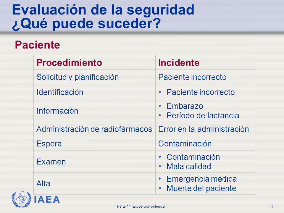 IAEA Parte 11. Exposición potencial10 Público Transporte Almacenamiento Manejo de fuentes Desechos radiactivos Paciente radiactivo Evaluación de la se