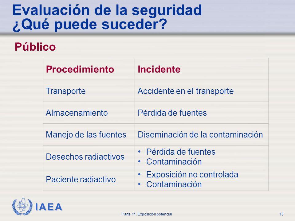 IAEA Parte 11. Exposición potencial12 Evaluación de la seguridad ¿Qué puede suceder? Fuente/trabajador ProcedimientoIncidente PedidoNo autorizado Tran