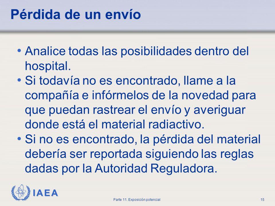 IAEA Parte 11. Exposición potencial14 Planes de emergencia En base a los eventos identificados por la evaluación de la seguridad, los titulares de lic