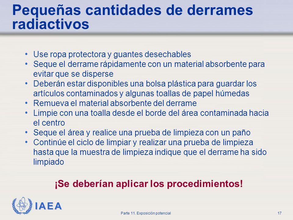 IAEA Parte 11. Exposición potencial16 Daño al generador de Tc-99m Evacuar el área inmediatamente Informar al Oficial de Protección Radiológica (RPO),