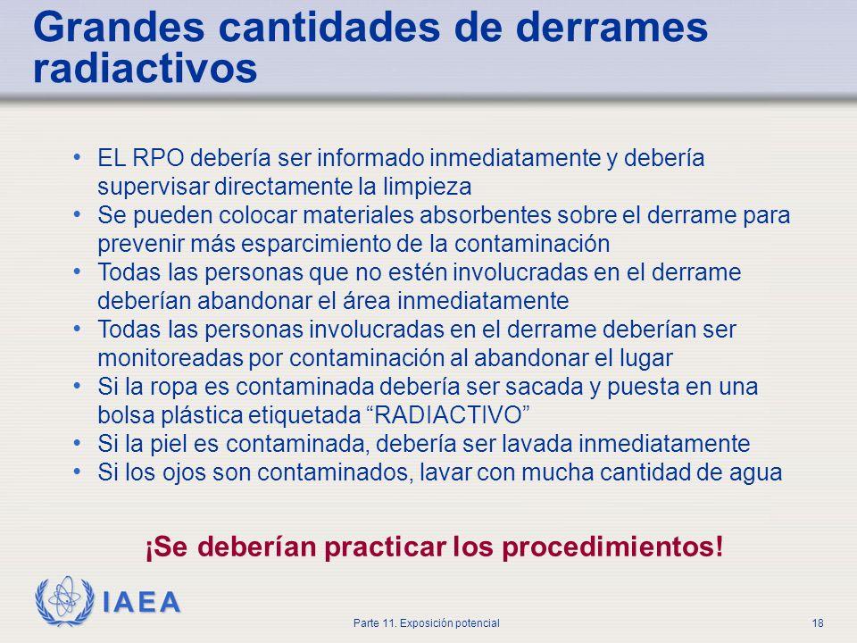 IAEA Parte 11. Exposición potencial17 Use ropa protectora y guantes desechables Seque el derrame rápidamente con un material absorbente para evitar qu