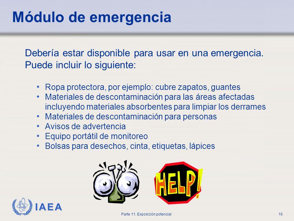 IAEA Parte 11. Exposición potencial18 EL RPO debería ser informado inmediatamente y debería supervisar directamente la limpieza Se pueden colocar mate