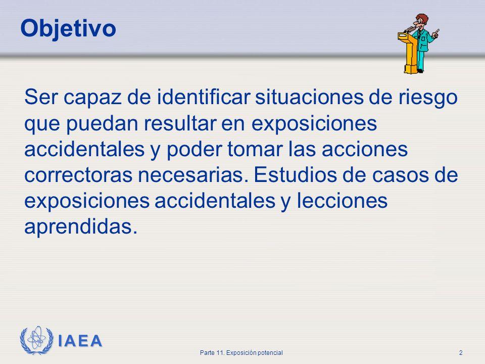 IAEA Parte 11.Exposición potencial12 Evaluación de la seguridad ¿Qué puede suceder.