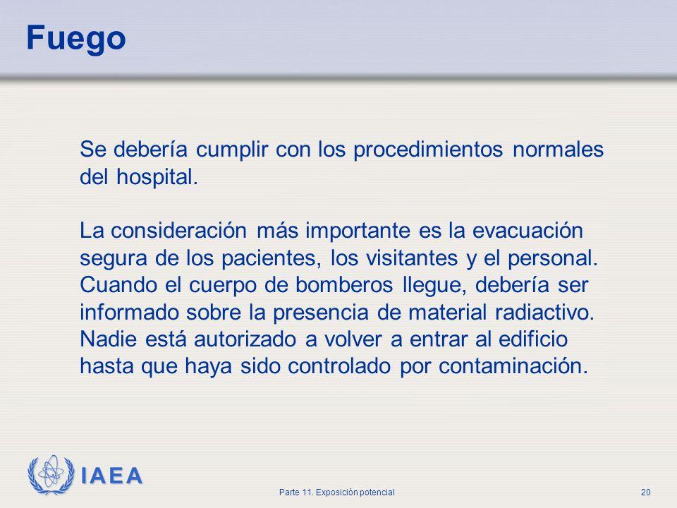 IAEA Parte 11. Exposición potencial19 Módulo de emergencia Debería estar disponible para usar en una emergencia. Puede incluir lo siguiente: Ropa prot