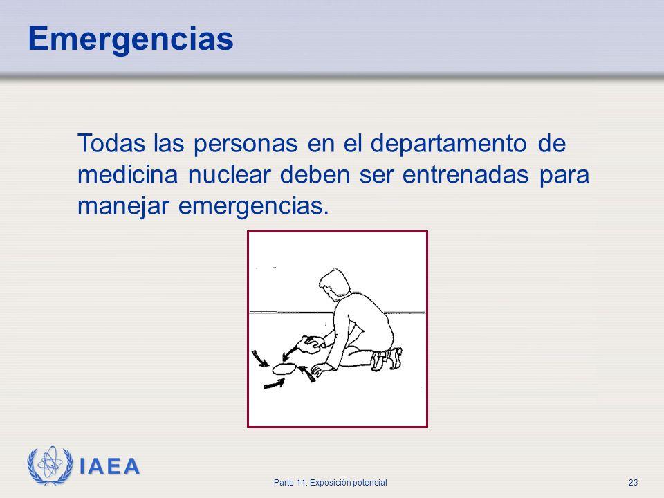 IAEA Parte 11. Exposición potencial22 En el caso de que el paciente requiera cirugía las consideraciones de protección radiológica no deberían preveni