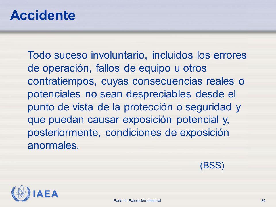 IAEA Parte 11. Exposición potencial25 Prevención de accidentes y atenuación de sus consecuencias Los titulares licenciados deberán incorporar dentro d