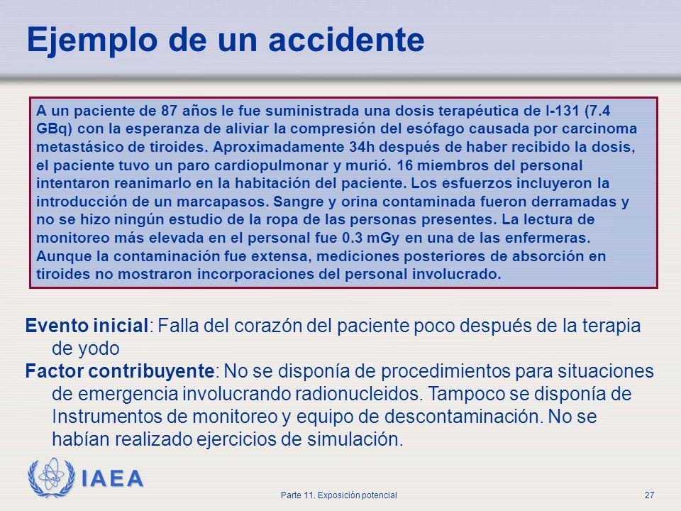 IAEA Parte 11. Exposición potencial26 Accidente Todo suceso involuntario, incluidos los errores de operación, fallos de equipo u otros contratiempos,