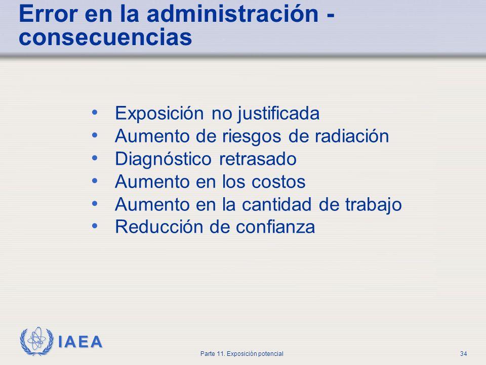 IAEA Parte 11. Exposición potencial33 Error en la administración en medicina nuclear 0 10 20 30 40 50 60 70 80 90 fármaco incorrecto paciente incorrec
