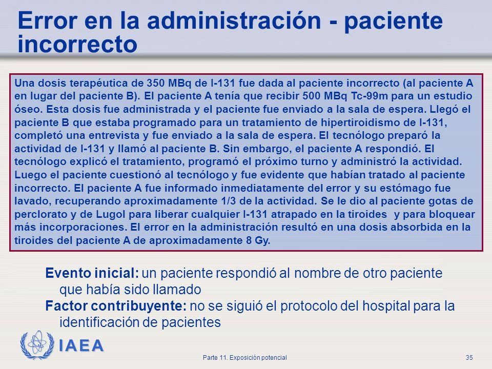IAEA Parte 11. Exposición potencial34 Error en la administración - consecuencias Exposición no justificada Aumento de riesgos de radiación Diagnóstico