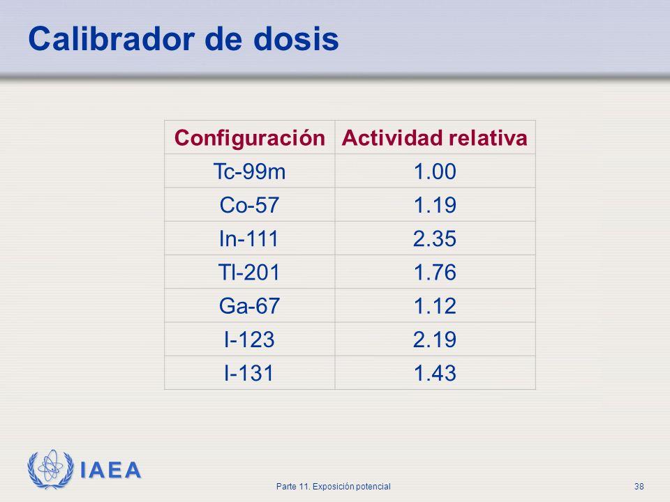 IAEA Parte 11. Exposición potencial37 Calibrador de dosis ¿Configuración correcta?