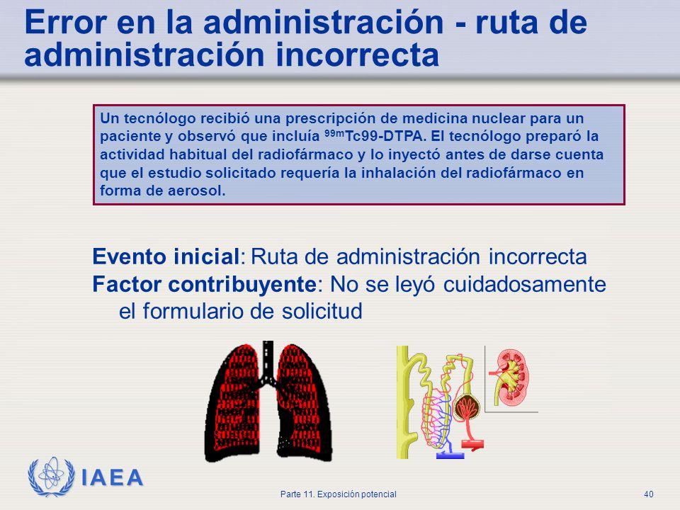 IAEA Parte 11. Exposición potencial39 Error en la administración - radiofármaco incorrecto Un tecnólogo inyectó a un paciente con lo que creía que era