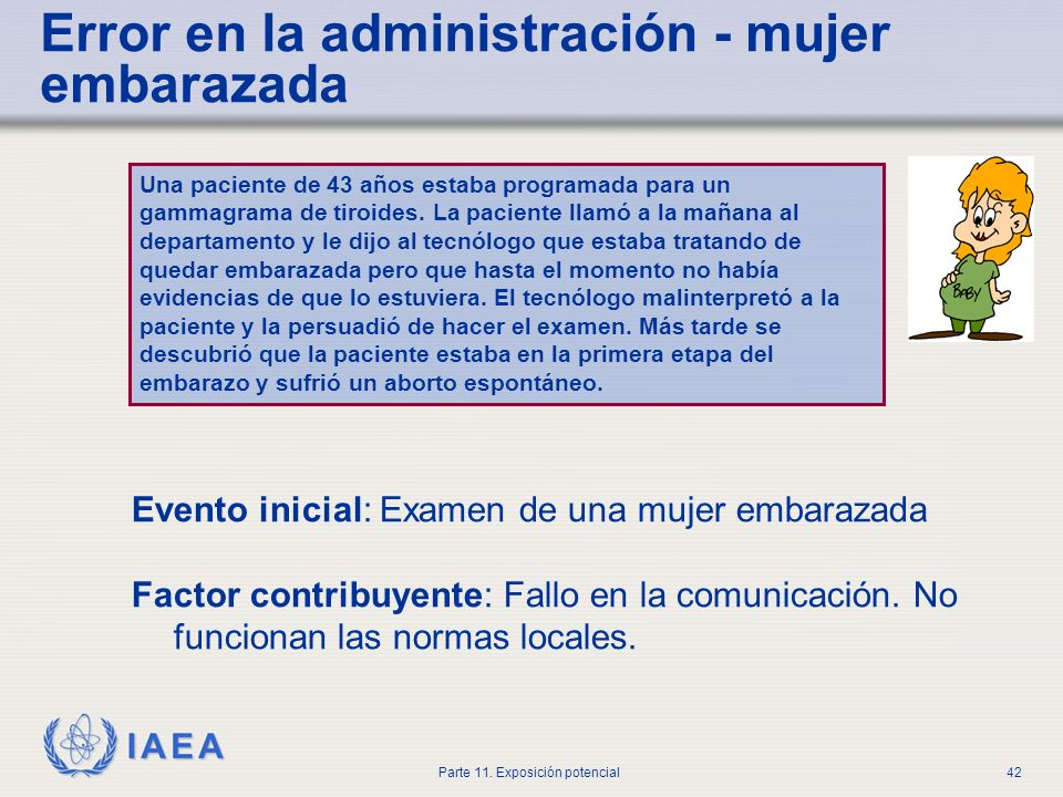 IAEA Parte 11. Exposición potencial41 Dosis absorbida en el lugar inyectado RadionucleidokeV/desintegración Tc-99m12.7 In-11131.8 I-131180.8 Sr-891463