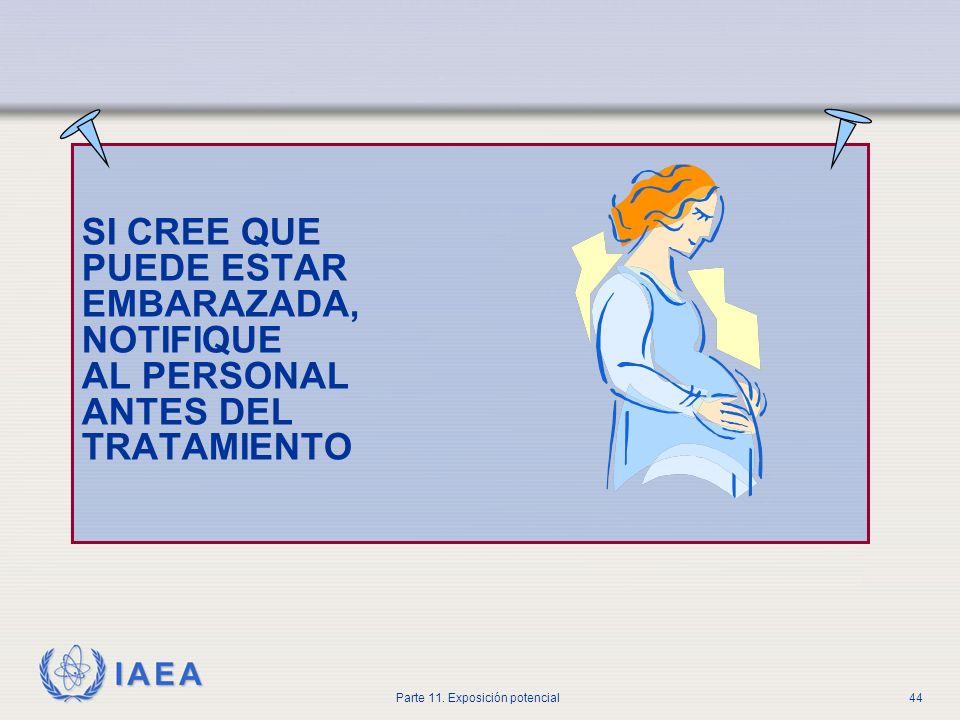 IAEA Parte 11. Exposición potencial43 Embarazo (BSS) Los titulares registrados y/o licenciados deberán asegurar que, para la medicina nuclear: Se evit