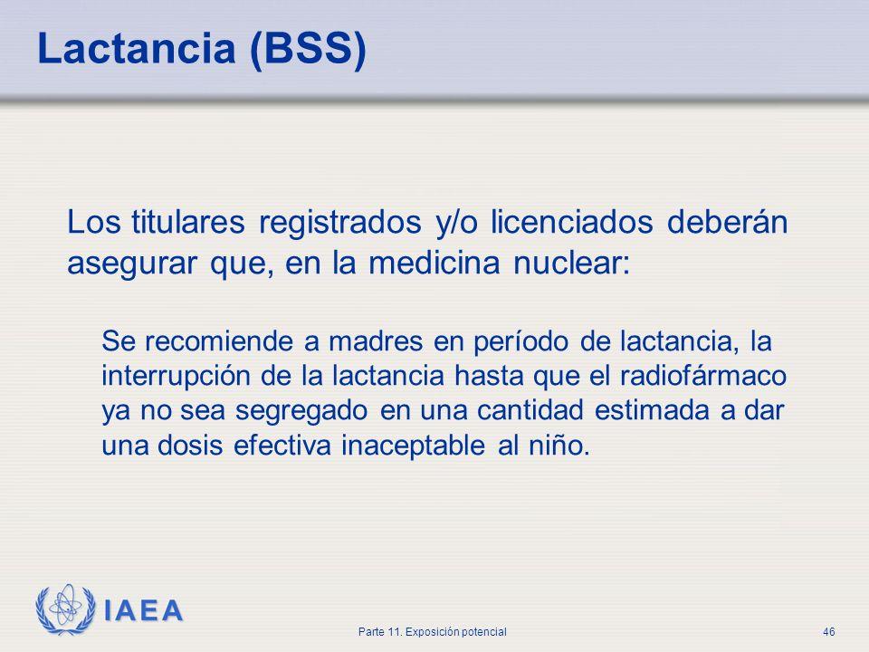 IAEA Parte 11. Exposición potencial45 Error en la administración Evento inicial: Una dosis de I-131 fue dada a una madre lactante Factor contribuyente