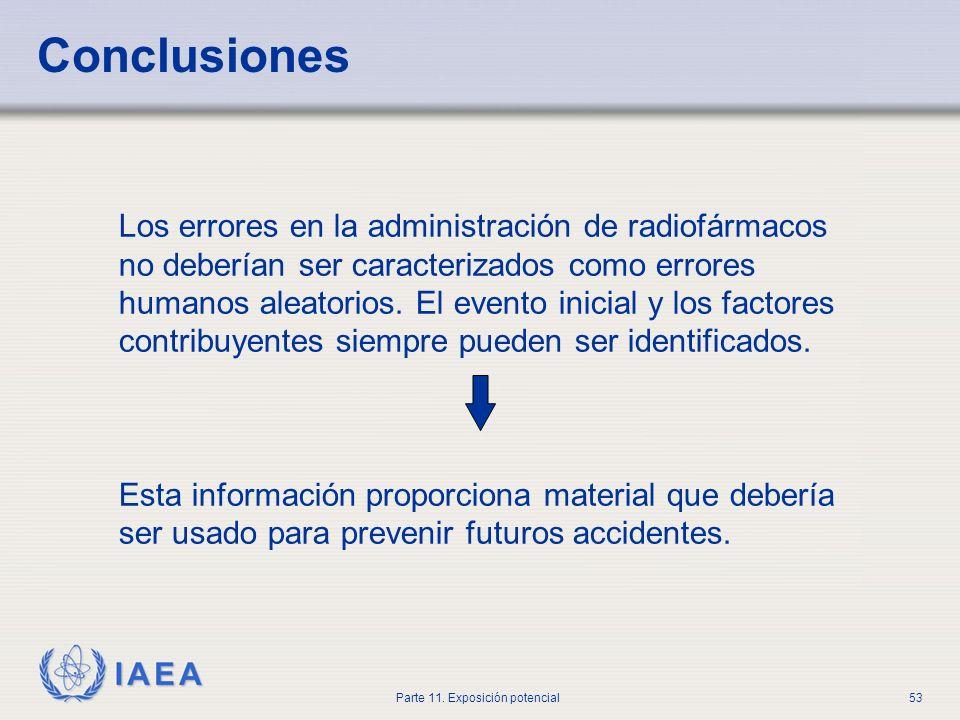 IAEA Parte 11. Exposición potencial52 Investigación de exposición médica accidental Informar al médico especialista en medicina nuclear responsable In