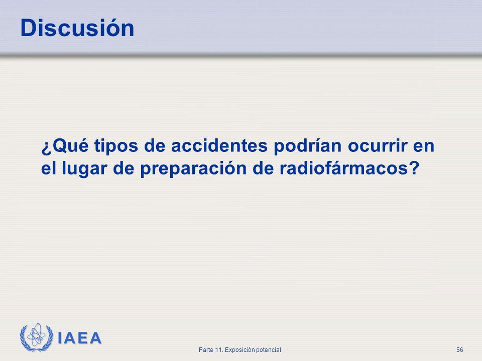 IAEA Parte 11. Exposición potencial55 Discusión Un envío de 10 GBq I-131 fue dejado desatendido en el departamento y desapareció. ¿Cómo se debe actuar