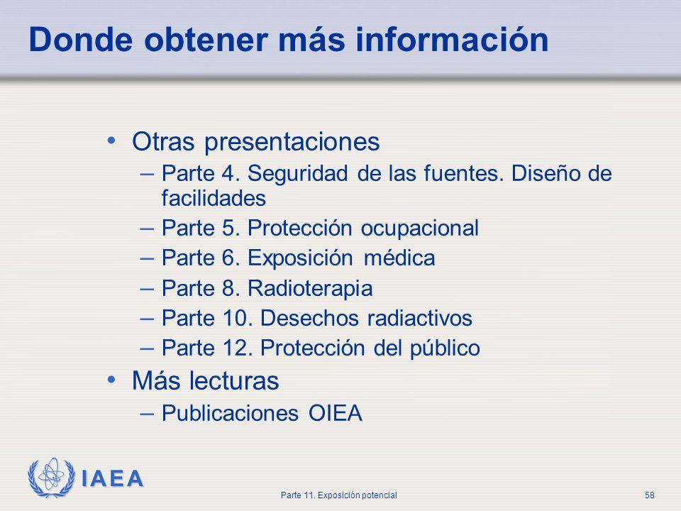 IAEA Parte 11. Exposición potencial57 Discusión Un paciente que contiene 5 GBq I-131 ha escapado de la sala de aislamiento. ¿Cómo se debe actuar?