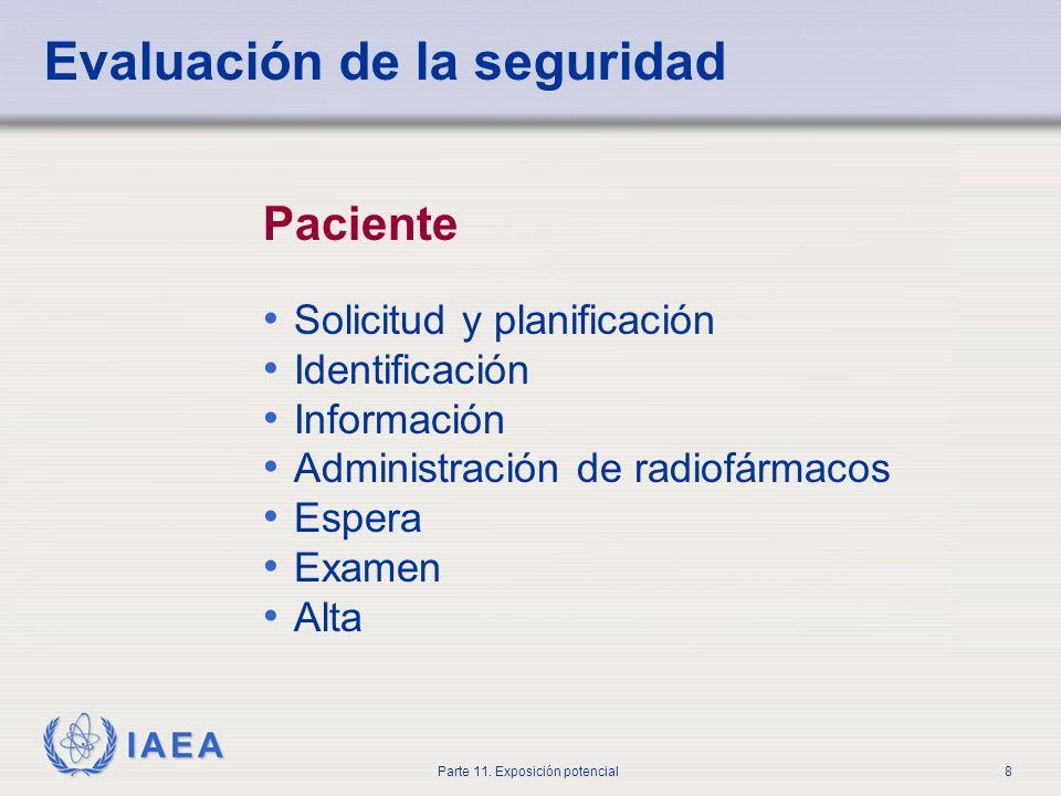 IAEA Parte 11. Exposición potencial7 Evaluación de la seguridad Un examen de los aspectos de diseño y operación de una fuente que son relevantes para
