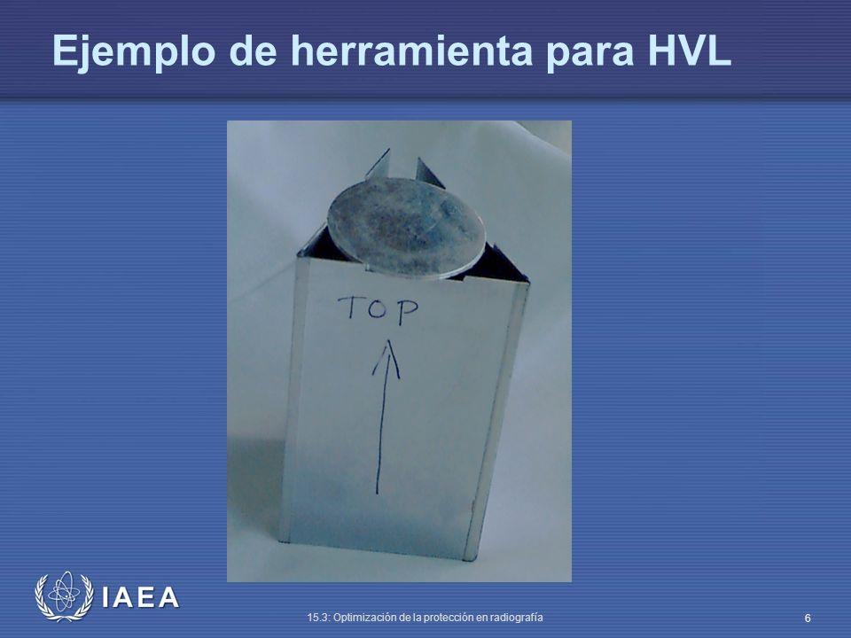IAEA 15.3: Optimización de la protección en radiografía 7 Láminas de cobre y plomo