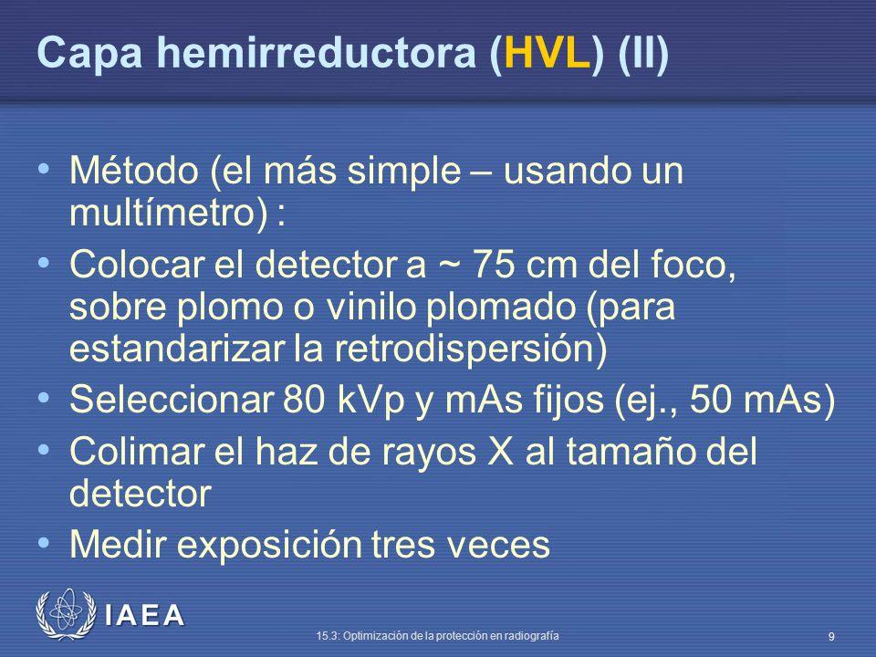 IAEA 15.3: Optimización de la protección en radiografía 10 Geometría de medida de la HVL ~ 75 cm Mesa Plomo Detector Haz de rayos X Láminas de aluminio Colimador Tubo de rayos X