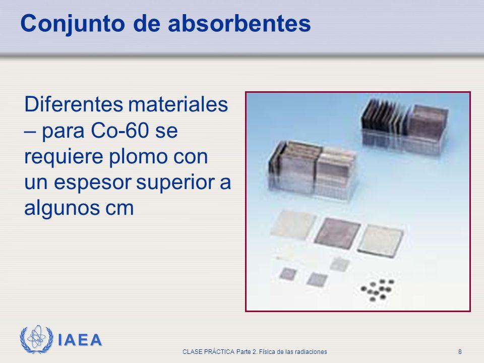 IAEA CLASE PRÁCTICA Parte 2. Física de las radiaciones8 Conjunto de absorbentes Diferentes materiales – para Co-60 se requiere plomo con un espesor su
