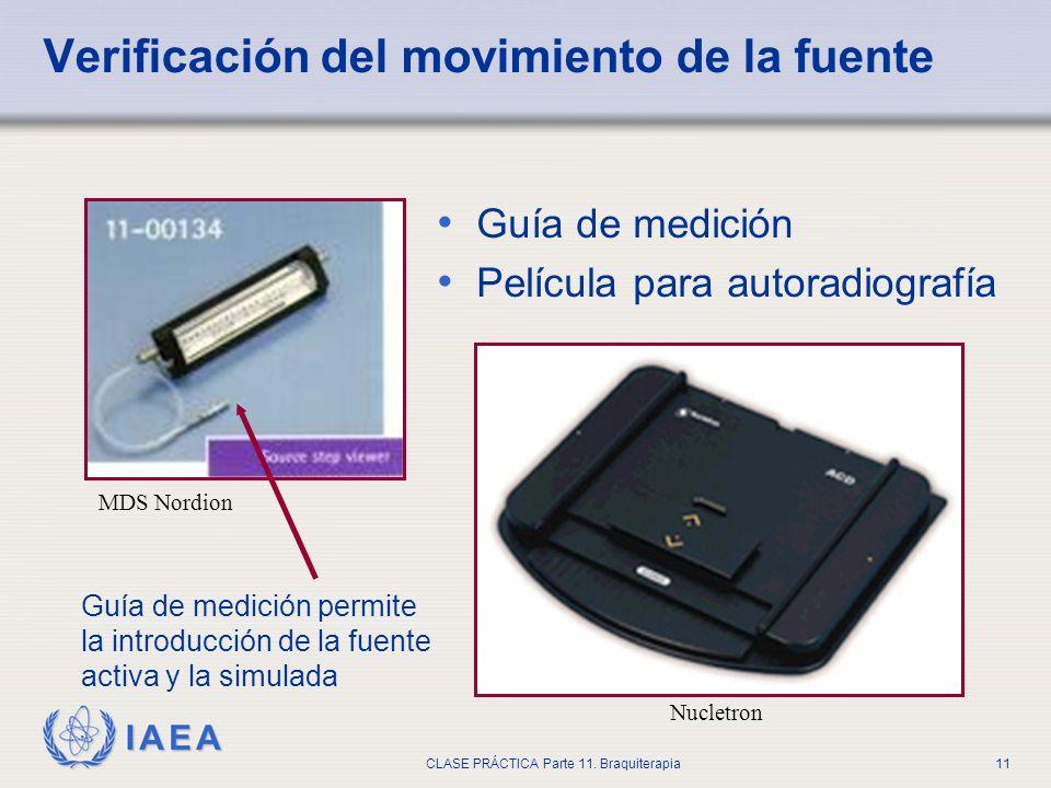IAEA CLASE PRÁCTICA Parte 11. Braquiterapia11 Verificación del movimiento de la fuente Guía de medición Película para autoradiografía MDS Nordion Nucl
