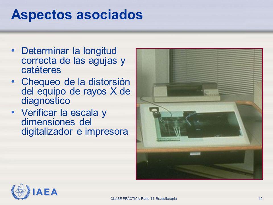 IAEA CLASE PRÁCTICA Parte 11. Braquiterapia12 Aspectos asociados Determinar la longitud correcta de las agujas y catéteres Chequeo de la distorsión de
