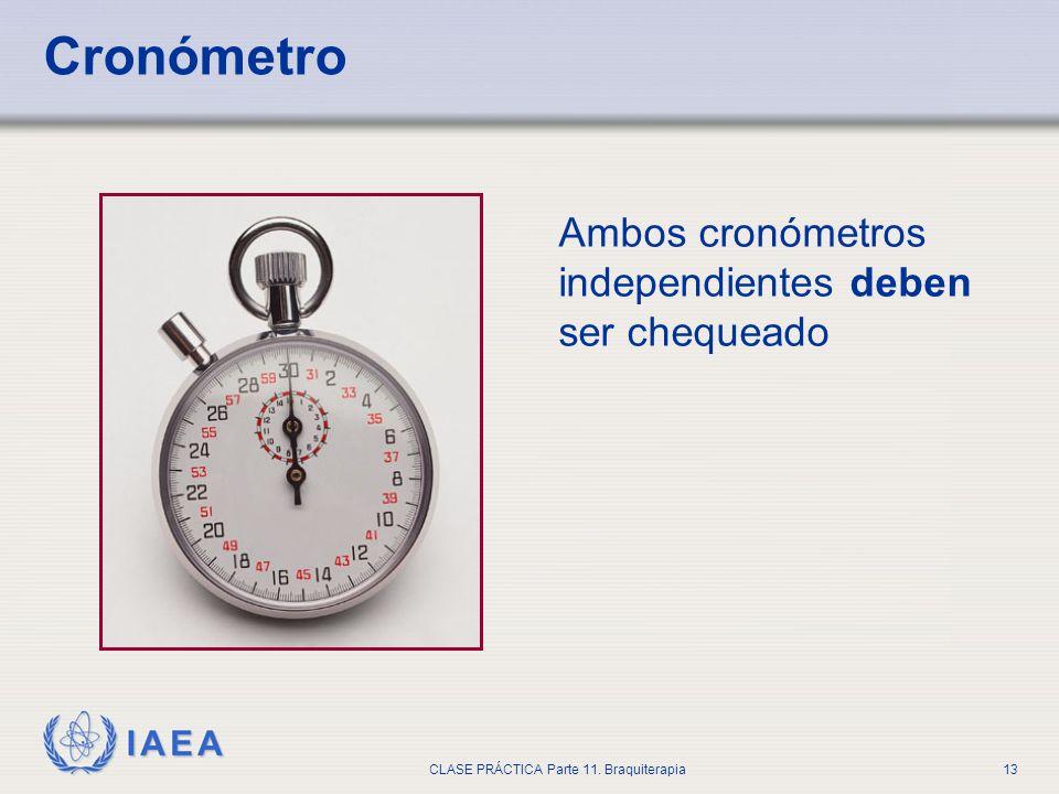 IAEA CLASE PRÁCTICA Parte 11. Braquiterapia13 Cronómetro Ambos cronómetros independientes deben ser chequeado