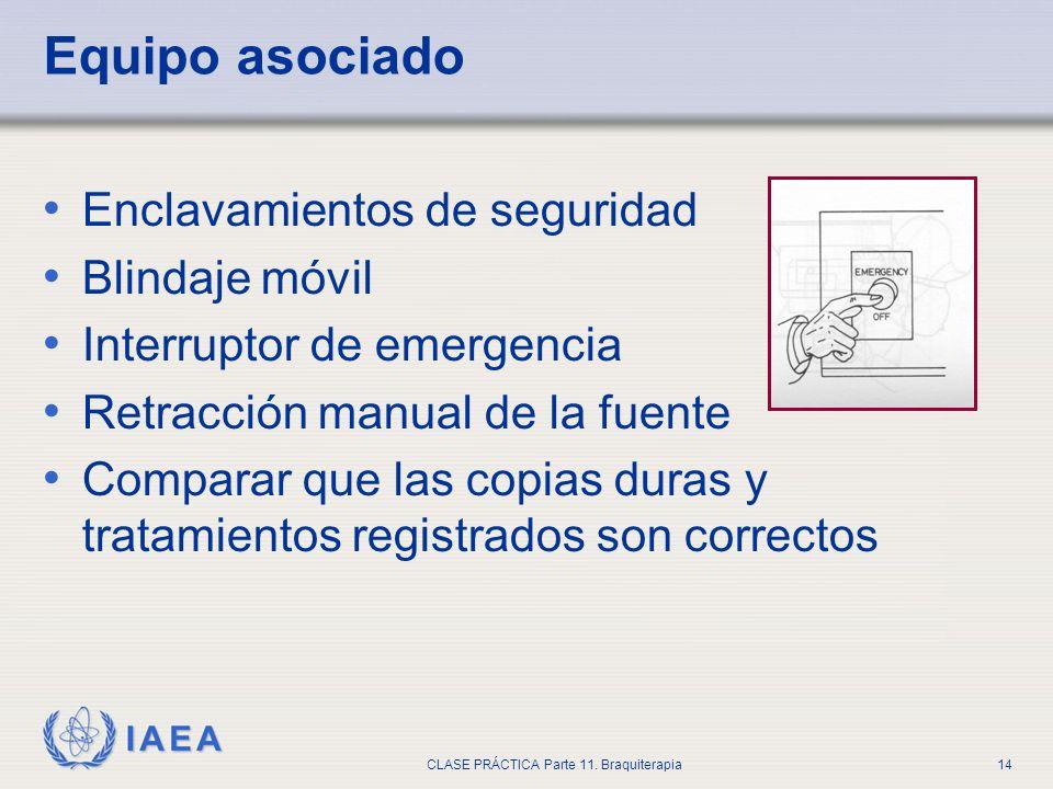 IAEA CLASE PRÁCTICA Parte 11. Braquiterapia14 Equipo asociado Enclavamientos de seguridad Blindaje móvil Interruptor de emergencia Retracción manual d