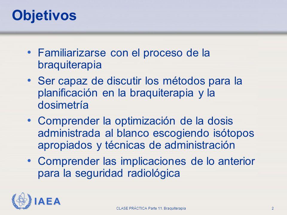 IAEA CLASE PRÁCTICA Parte 11. Braquiterapia2 Objetivos Familiarizarse con el proceso de la braquiterapia Ser capaz de discutir los métodos para la pla