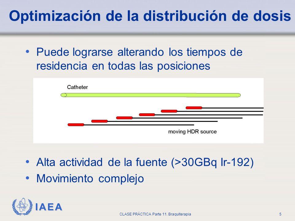 IAEA CLASE PRÁCTICA Parte 11. Braquiterapia5 Optimización de la distribución de dosis Puede lograrse alterando los tiempos de residencia en todas las