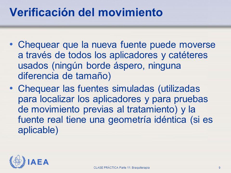 IAEA CLASE PRÁCTICA Parte 11. Braquiterapia9 Verificación del movimiento Chequear que la nueva fuente puede moverse a través de todos los aplicadores