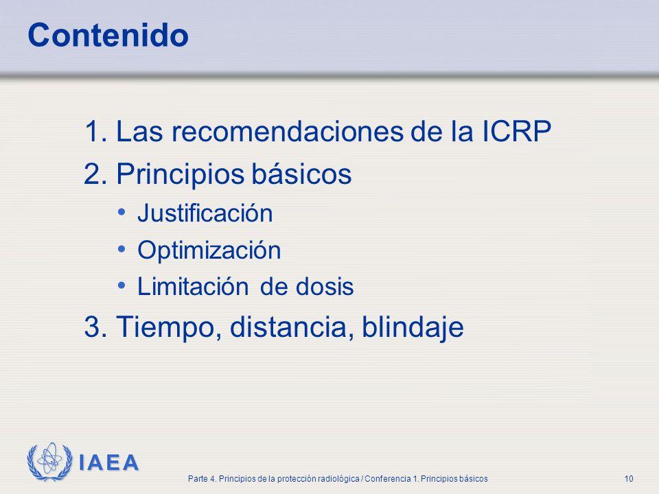 IAEA Parte 4. Principios de la protección radiológica / Conferencia 1. Principios básicos10 Contenido 1. Las recomendaciones de la ICRP 2. Principios