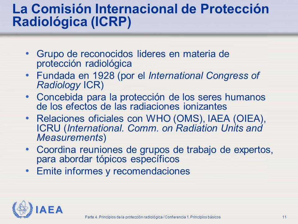 IAEA Parte 4. Principios de la protección radiológica / Conferencia 1. Principios básicos11 La Comisión Internacional de Protección Radiológica (ICRP)