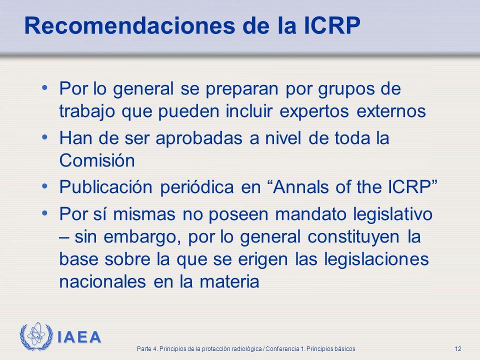 IAEA Parte 4. Principios de la protección radiológica / Conferencia 1. Principios básicos12 Recomendaciones de la ICRP Por lo general se preparan por