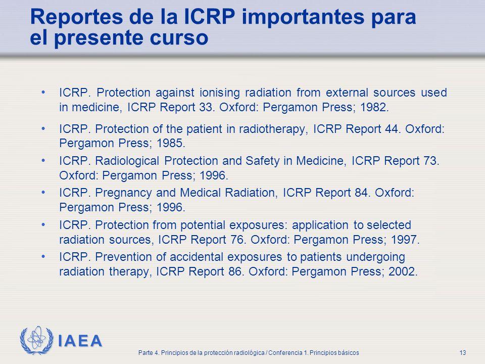 IAEA Parte 4. Principios de la protección radiológica / Conferencia 1. Principios básicos13 Reportes de la ICRP importantes para el presente curso ICR