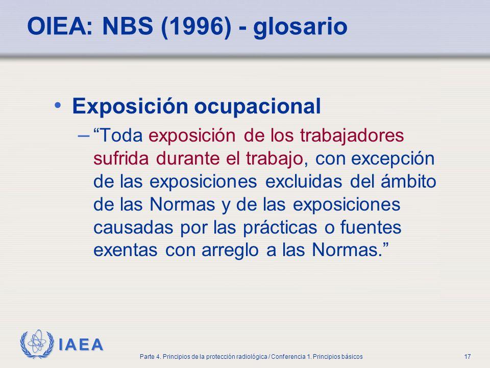 IAEA Parte 4. Principios de la protección radiológica / Conferencia 1. Principios básicos17 OIEA: NBS (1996) - glosario Exposición ocupacional – Toda